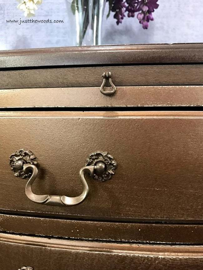 metallic bronze, metallic glaze, painted dresser, painted hardware