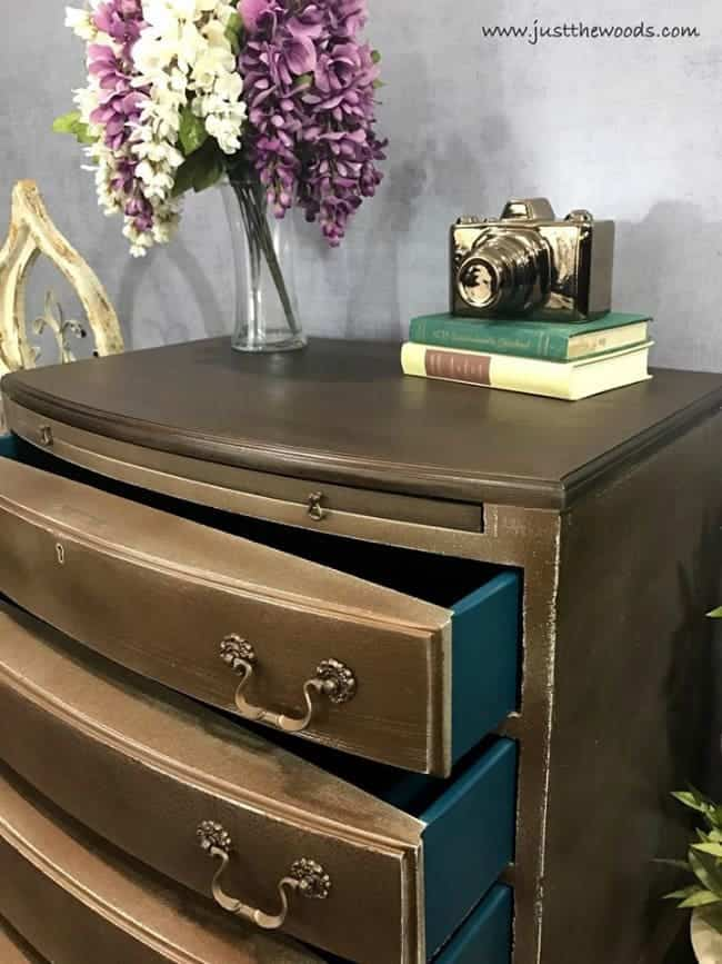 metallic glaze over wood stain, distressed metallic paint, teal drawers