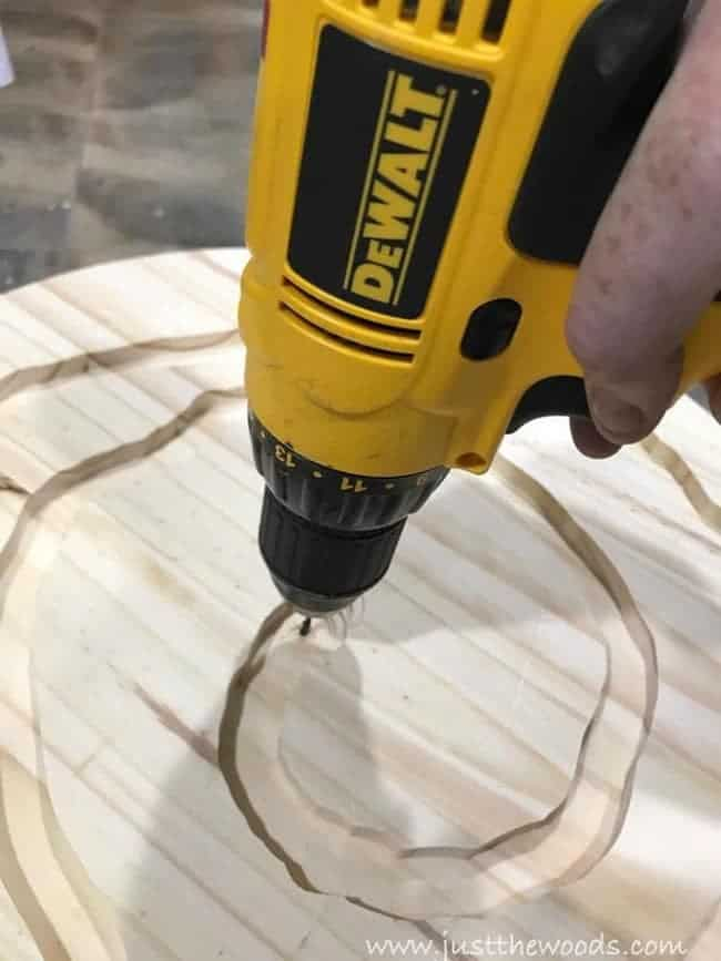 dewalt drill, routed wood, mosaic table, mosiac table