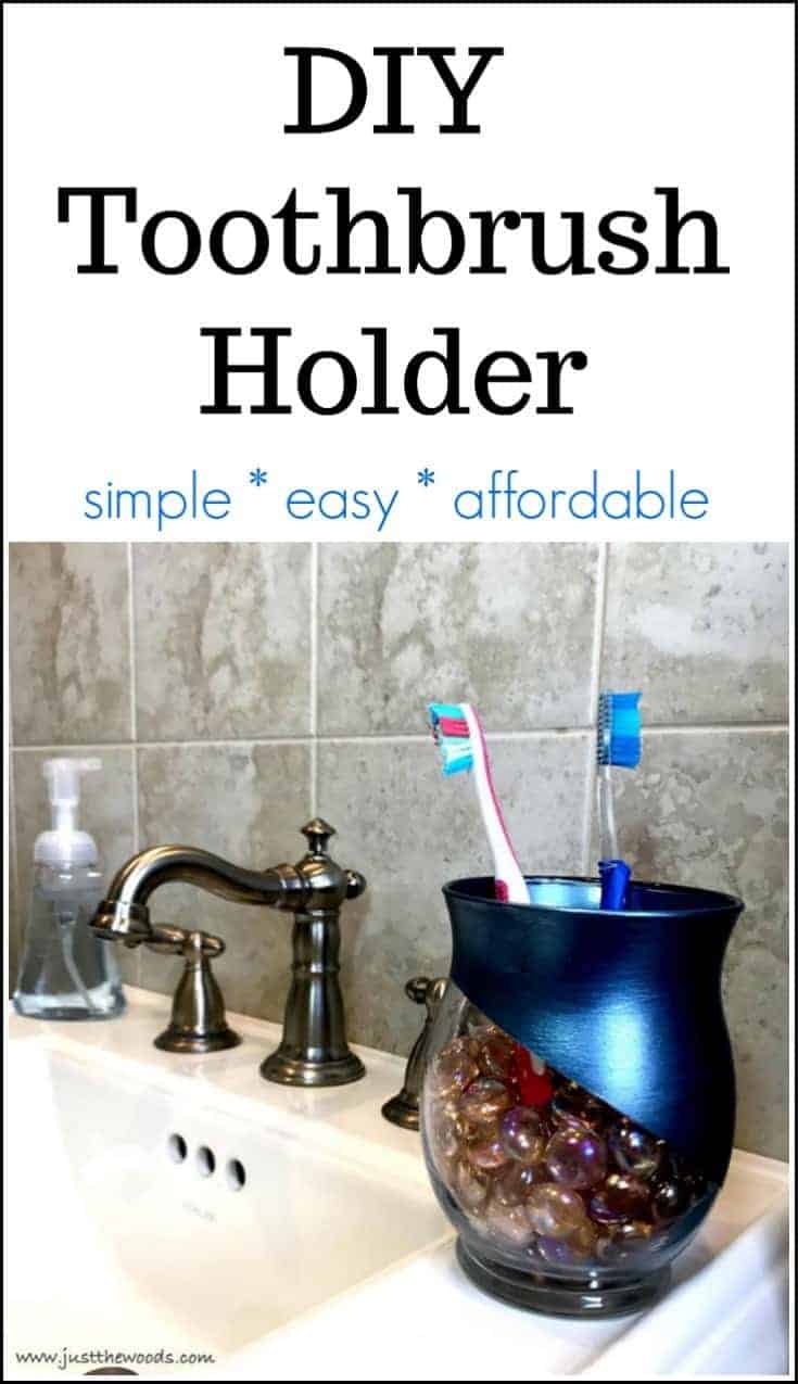 DIY Toothbrush Holder, DIY toothbrush holder, metallic paint, glass jar, mosaic gems,