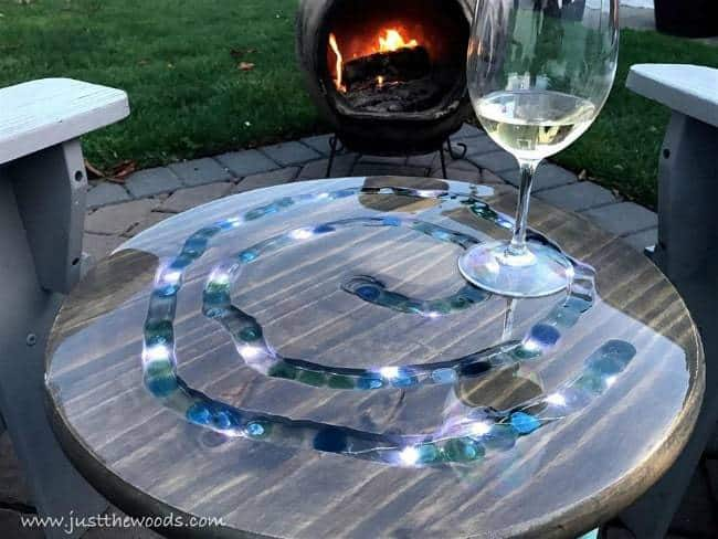 diy mosaic table with led lights, fireside table, wood table with stones