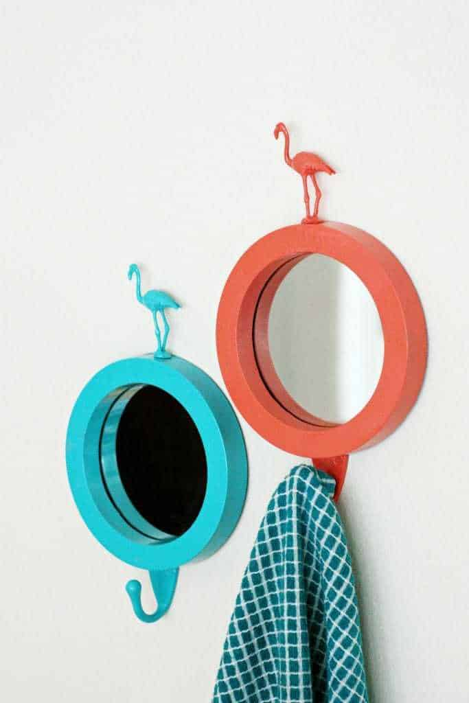 flamingo mirrors, teal and orange paint, diy mirrors
