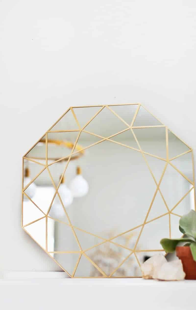 diy mirror, gem mirror, gold trim mirror