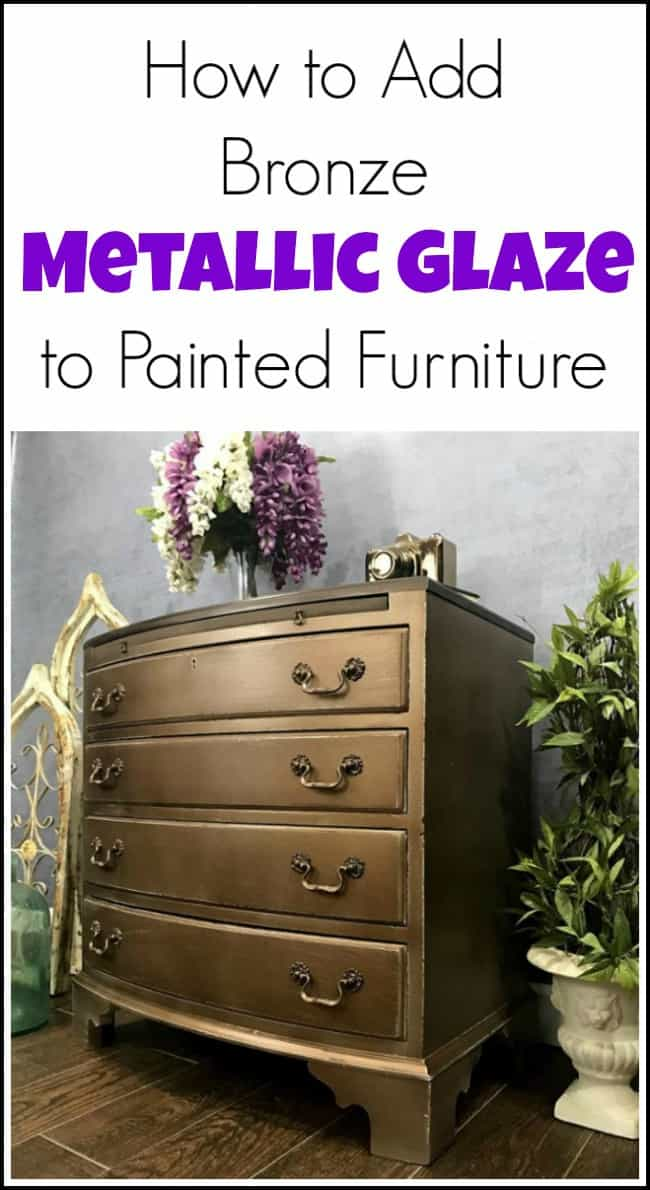 bronze metallic glaze, painted furniture, metallic furniture, glazing furniture, how to glaze furniture