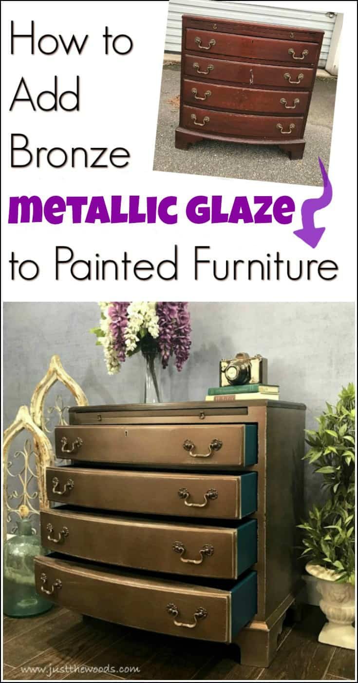 Glam up your painted furniture with bronze metallic glaze. Add a metallic glaze to a painted chest using the Finish Max Super paint sprayer by HomeRight. By distressing the metallic finish you create a worn metallic for a one of a kind look. painted furniture, how to paint furniture, metallic painted furniture, paint sprayer, furniture painting ideas, furniture makeover, metallic bronze painted furniture, painted furniture ideas