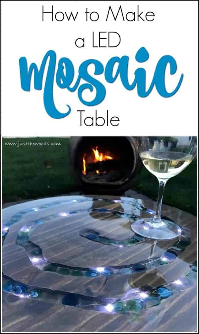Make a mosaic table with glass gems and LED lights. With a router and string lights, you can make your own DIY mosaic outdoor table, sealed with epoxy glaze. See how to create a mosaic table top that lights up. #mosaictable #mosaicoutdoortable #mosaicpatiotable #diymosaictable