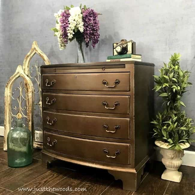 vintage painted furniture, metallic painted furniture, bronze dresser