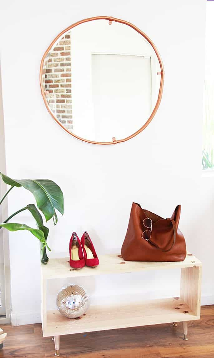 copper pipe mirror, diy mirror, copper mirror