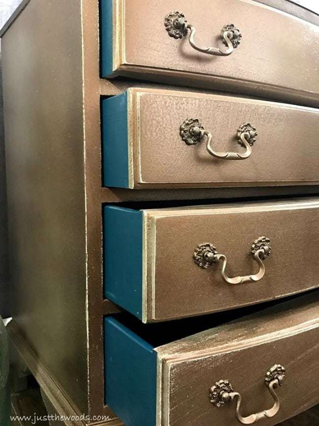 metallic painted furniture ideas, glazed, bronze, pop of color, bold teal painted drawers