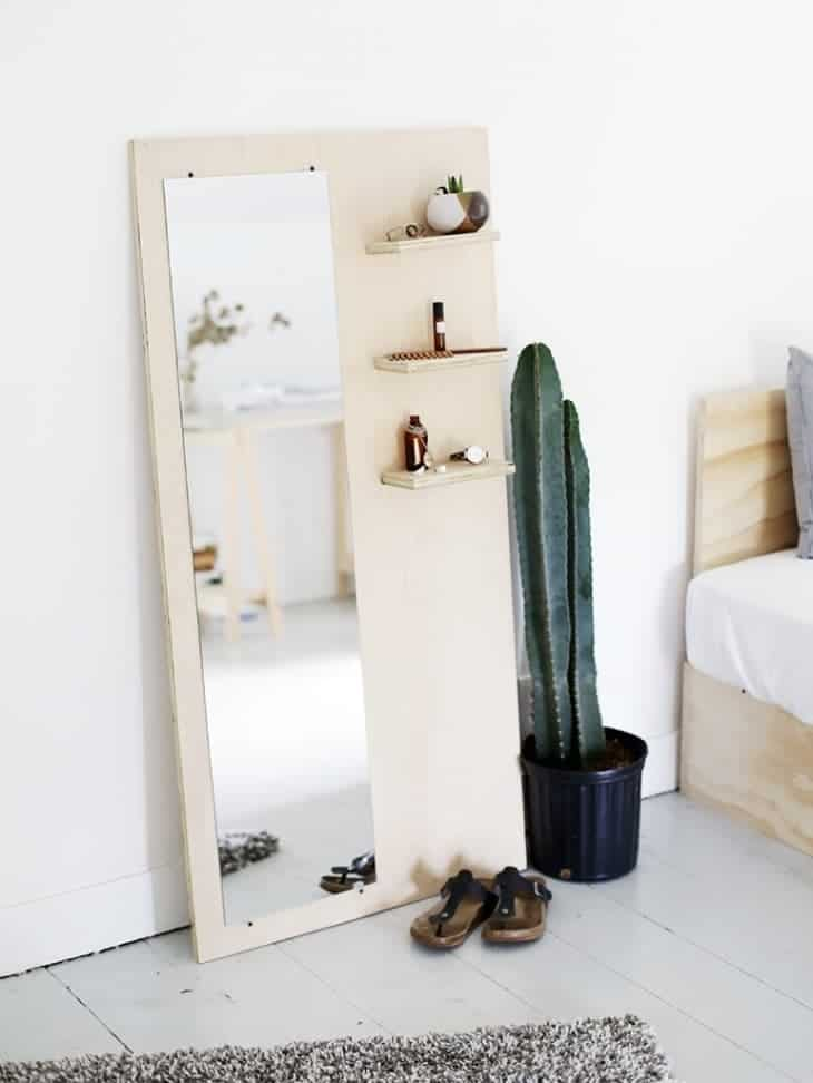 standing mirror, leaning mirror, plywood mirror, diy mirror