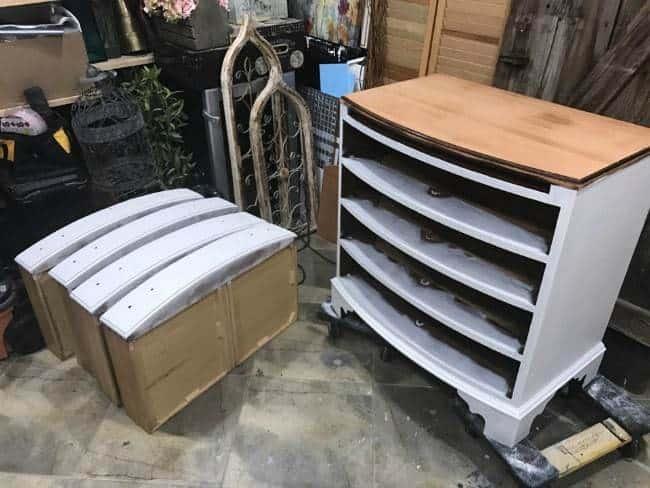 sanded and primed dresser