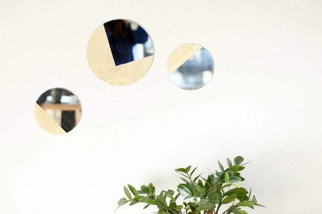 painted mirror, gold leaf mirror, diy, how to