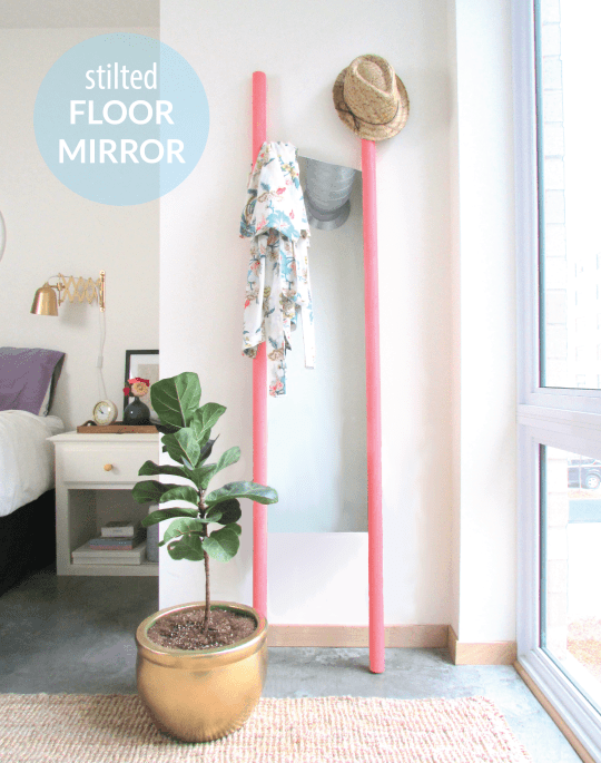 stilted mirror, floor mirror, diy mirror, highwater mirror, pink standing mirror