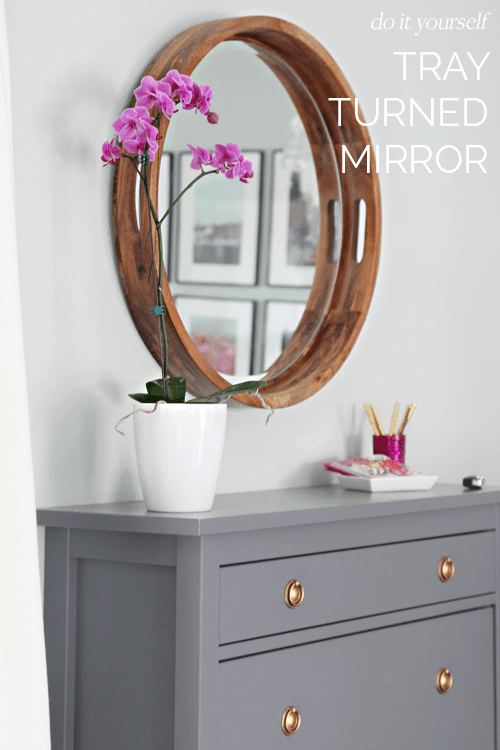 diy mirror, tray turned mirror