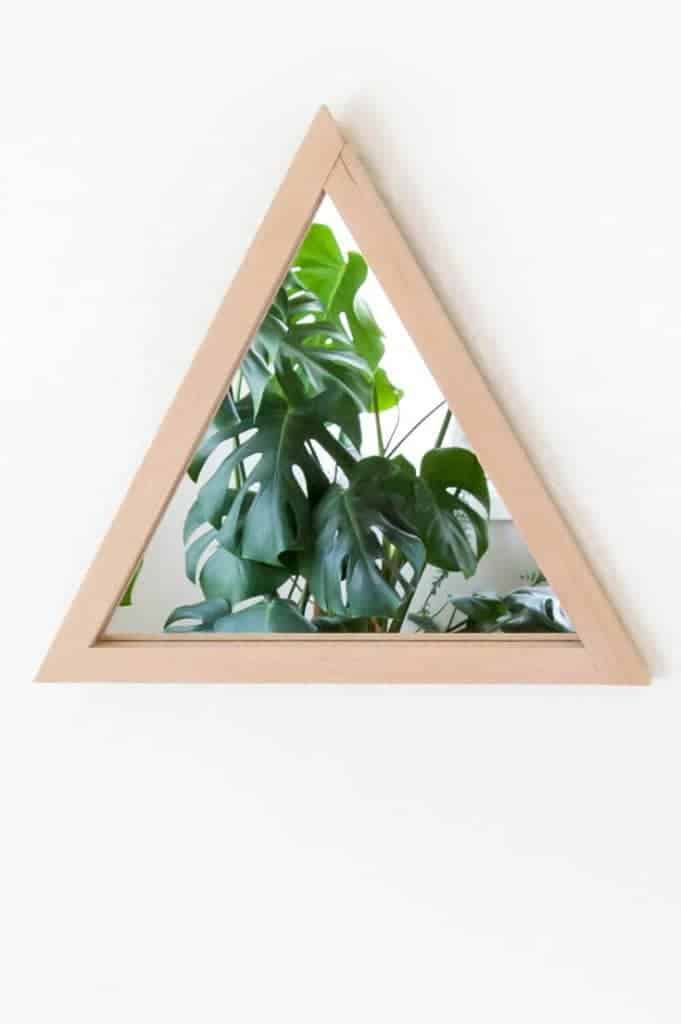 triangle mirror, wood frame mirror, diy mirror