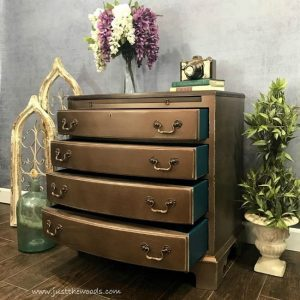 metallic bronze chest, metallic furniture