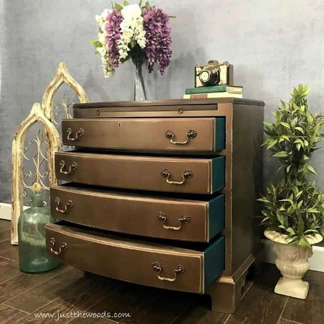 how to glaze furniture, metallic glaze, painted furniture, bronze painted dresser, painted furniture