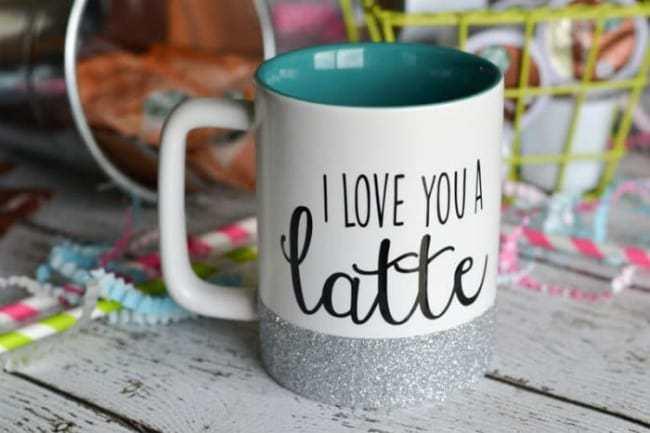 glitter dipped mug, cricut