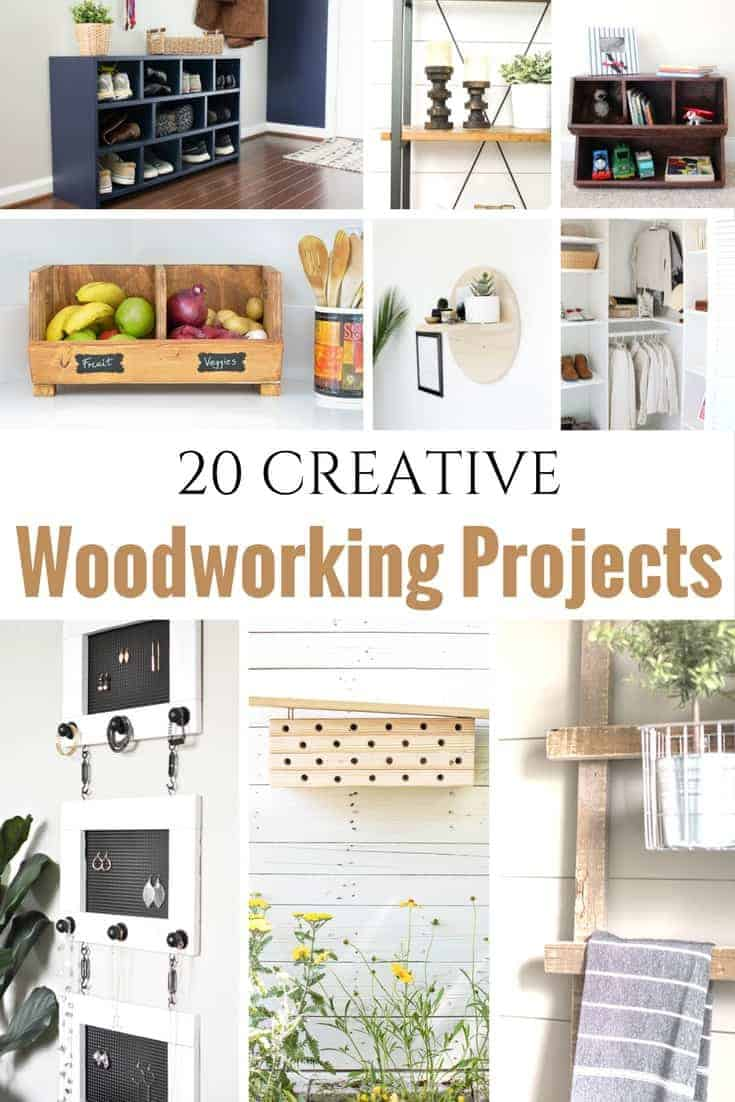 20 Creative Beginner Woodworking Projects for the Serial DIYer. DIY projects ranging from easy woodworking projects to more detailed DIY woodworking projects. Some include free woodworking project plans for you to build yourself. | woodworking projects | woodworking ideas | beginner woodworking projects | DIY woodworking | free plans woodworking |