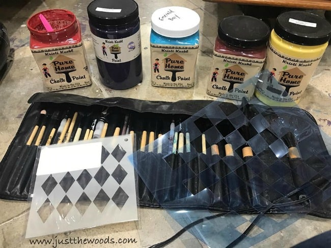 chalk paint, paint brushes, stencils, pure home paint, non toxic paint