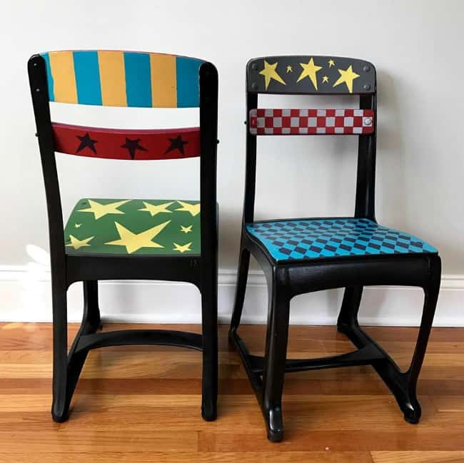 painted kids chairs