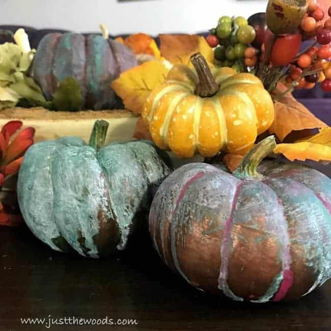 painted pumpkins, patina decor, metallic copper, fall decor
