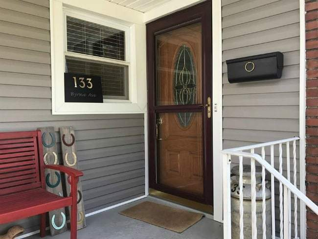 diy address plaque, address sign on porch, painted sign
