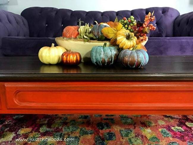 purple sofa, orange tables, colorful fall decor, autumn decor, tablescape