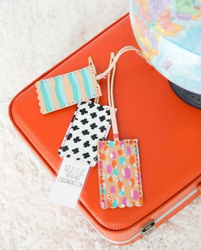 diy leather luggage tags