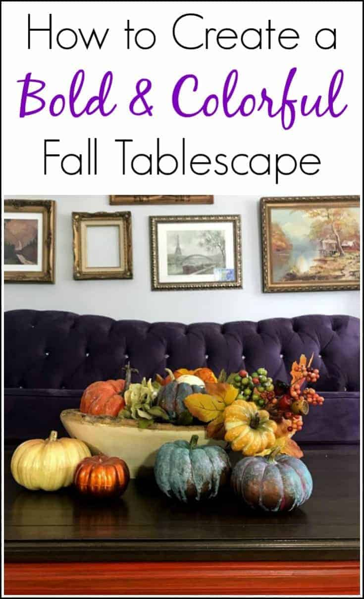 Need ideas for colorful fall decor and tablescapes? Create a bold & colorful Fall tablescape for your home. Paint pumpkins and add metallic paint with patina for a unique and fun addition to Autumn decor.