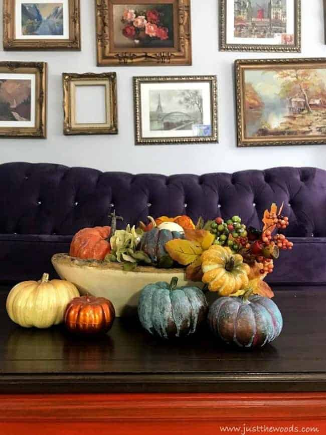 gallery wall, colorful fall tablescape, purple couch, autumn decorations