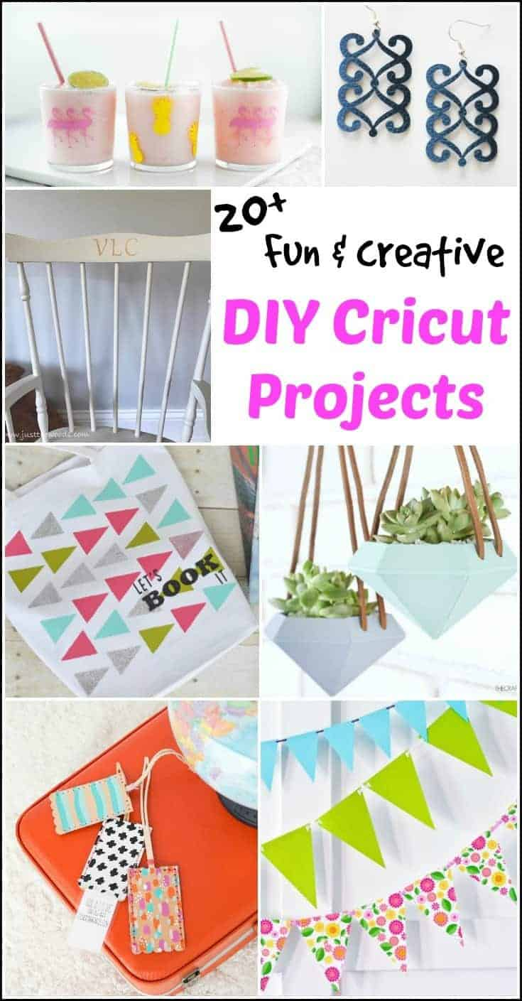 Fun and creative DIY Cricut projects. Cricut projects ranging from stencils, personalized vinyl, DIY planters, intricate earrings, luggage tags and more.