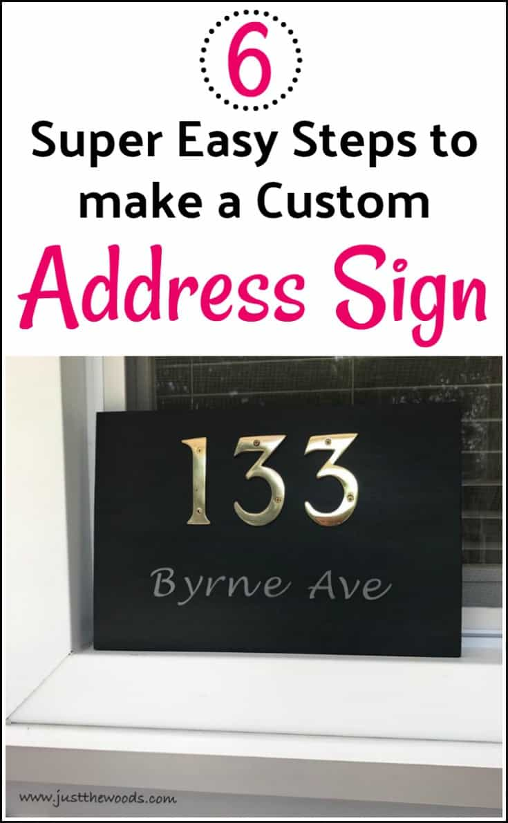 6 easy steps to make your own custom address plaque. DIY house number sign. Make your own home address sign with scrap wood, paint, and brass numbers. #addressplaque #addresssign #nymberedsign #housesign #diyaddresssign