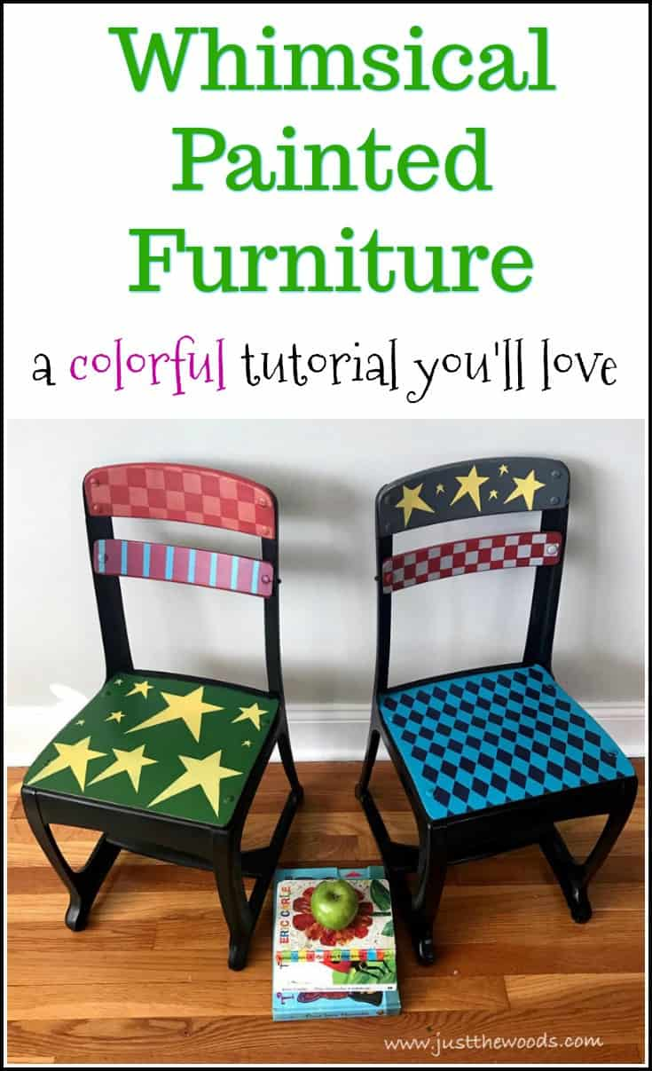 Whimsical painted furniture is bright, fun and colorful. The funky paint technique is great for these child size vintage school chair makeovers. Whimsically painted chairs are perfect for a kindergarten classroom. Painted furniture, whimsical painted furniture, painted chairs, painted furniture before and after, colorful painted furniture, painted furniture ideas, furniture painting techniques