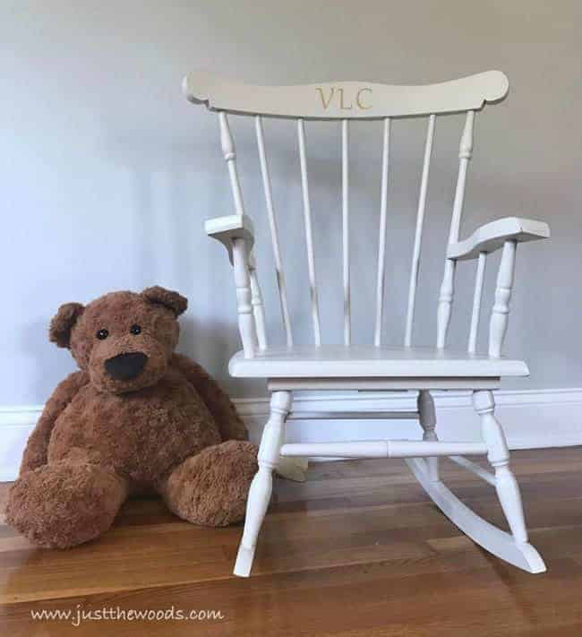 vintage rocking chair, painted rocking chair, teddy bear
