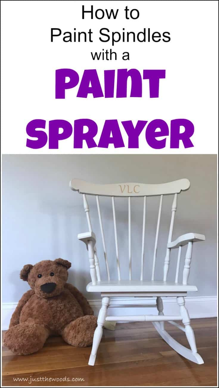 rocking chair, painted spindles, paint sprayer