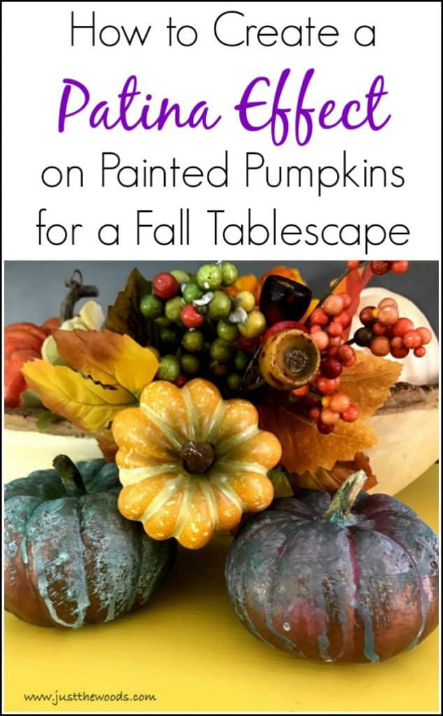 patina effect, painted pumpkins, tablescape, fall decor