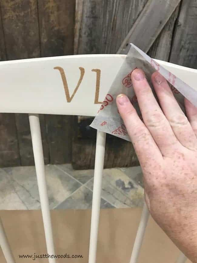 sandpaper, stenciled initials, rocking chair