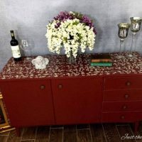 Custom Painted Cranberry Credenza