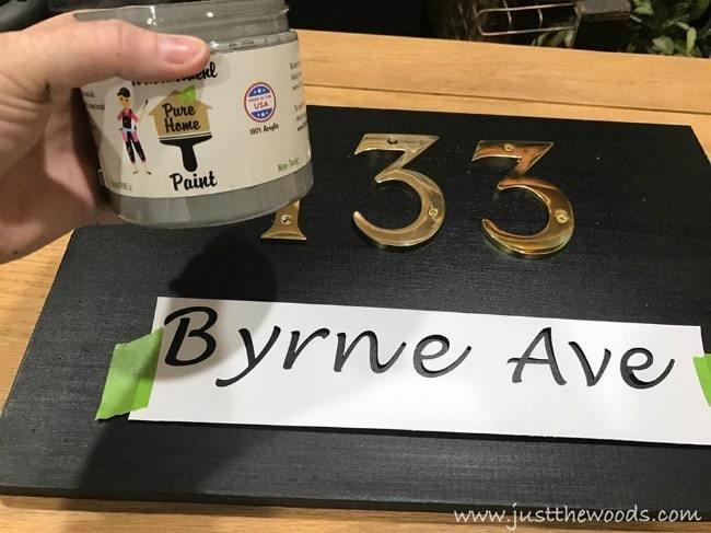 pure home paint, chalk paint, diy sign, stencil, address plaque