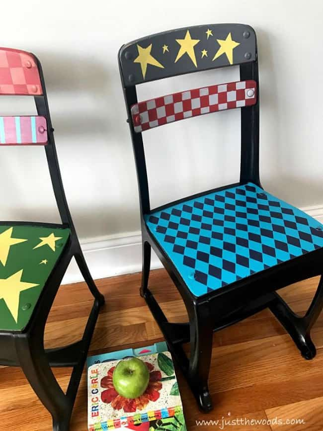funky painted chairs, whimsical chairs, painted furniture