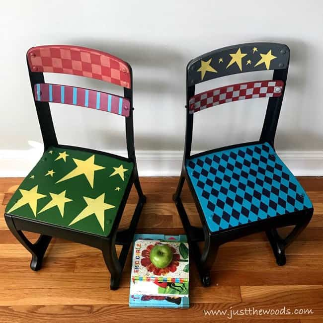 whimsical painted chairs, whimsical painted furniture, colorful furniture