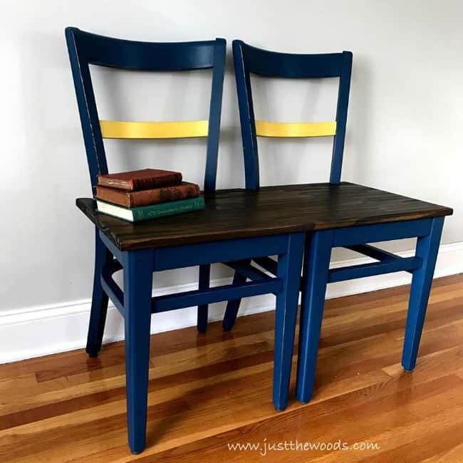 how to make a bench from two chairs, chairs turned into benches, chair bench, homemade bench