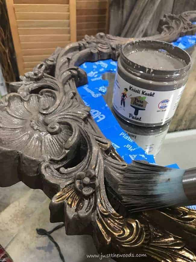 painting ornate mirror, pure home paint, swiss miss