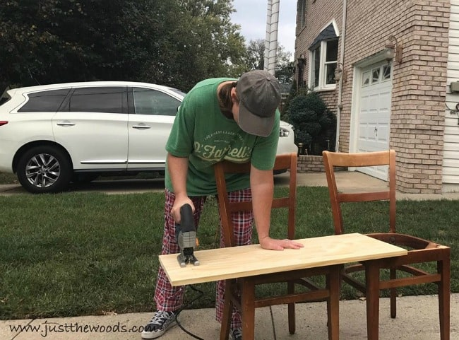 make a bench, bench from chairs, repurpose chairs to build bench