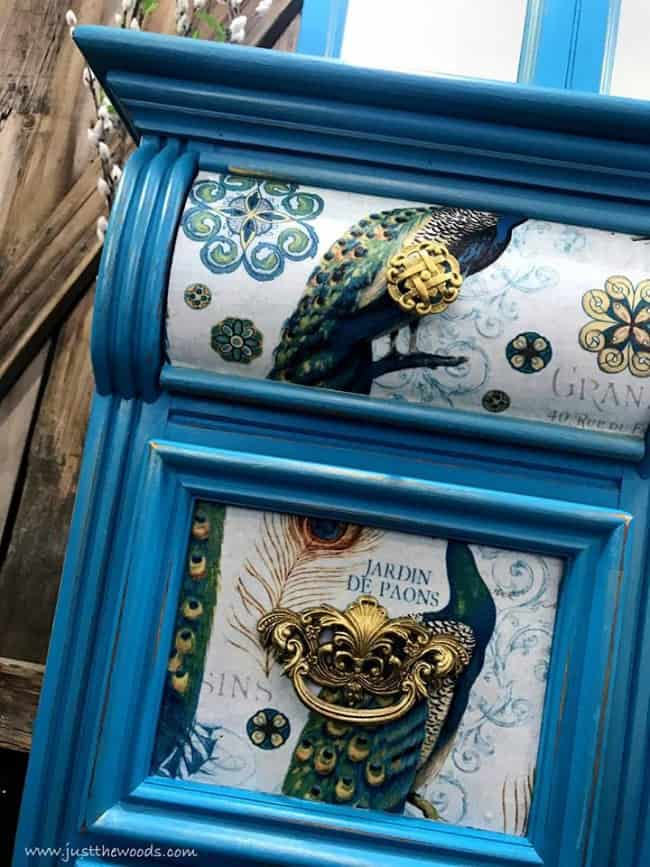 fabric on drawers, decoupage furniture, decoupage wood drawers, peacock fabric, peacock furniture