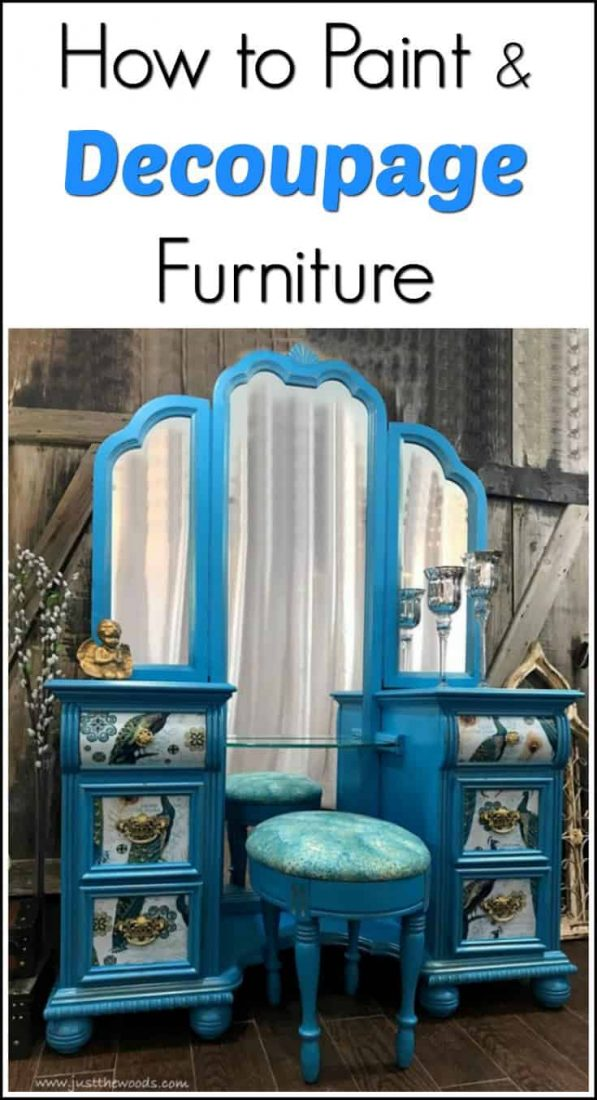 how to paint & decoupage furniture, decoupage painted vanity, peacock furniture