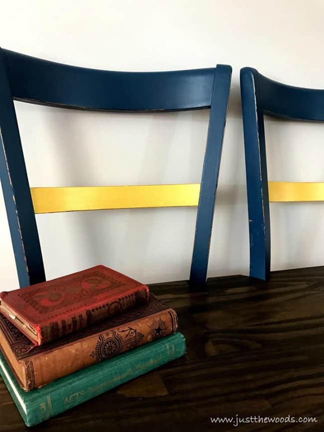 metallic paint, blue and gold painted furniture, repurposed chairs into a bench