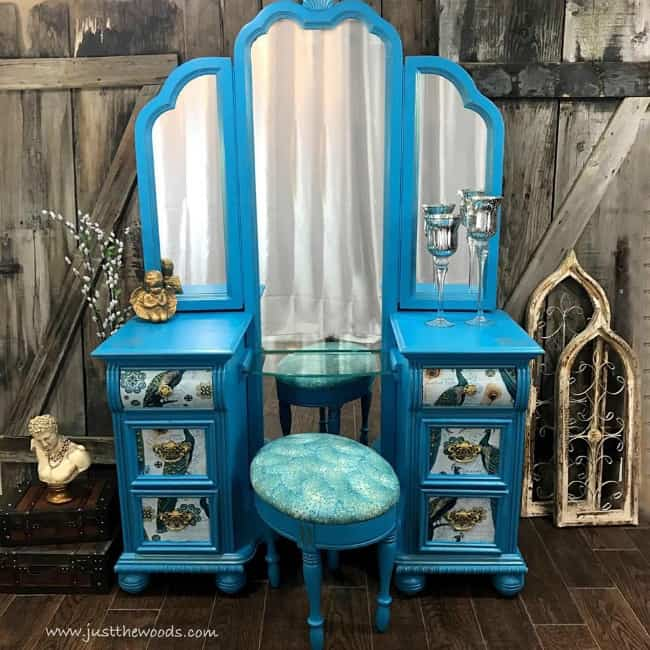 decoupage with mod podge, fabric decoupage, how to decoupage furniture, painted vanity