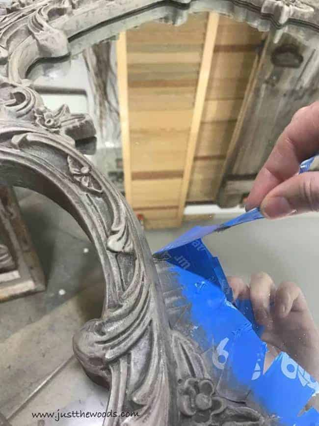 remove painters tape, how to paint a mirror frame, ornate frame, vintage frame